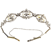 Vintage Art Deco Platinum Bracelet Diamonds 3.0ctw Pearls Full of Sparkle RARE