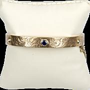 Victorian 14K Gold Chased Gold Bangle Bracelet with Diamonds Sapphire  Lovely Design  RARE