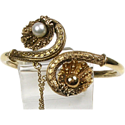 Antique Victorian Etruscan Revival 14K Gold Bangle  Granulation Pearl Shell Design  Lovely  RARE