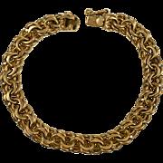 Vintage Heavy 14K Gold Double Link Charm Bracelet    Top Quality