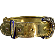 Gorgeous Victorian 14K Gold Diamond Buckle Bangle Bracelet   Large Sparkly Diamonds   Enamel  A Treasure!!