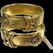 Exquisite Pair Antique Victorian 14K Gold Buckle Bangles   Unusual Design  Hinged   RARE