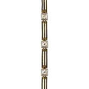 Vintage Art Deco 14K Gold Diamond .40ctw Line Bracelet  Black Enamel Trim  RARE