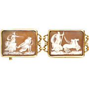 Antique Victorian 14K Gold Shell Cameo Bracelet  7 Intricately Carved Scenes  Top Quality  RARE