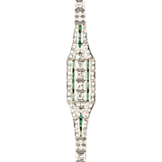 Stunning Vintage Art Deco Platinum Diamond Emerald Bracelet  Full of Sparkle  Important  RARE