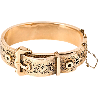 Very Special Antique Victorian 14K Rose Gold Buckle Bangle  Black Enamel  Chasing  Hinged  RARE