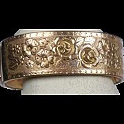 Stunning Wide Victorian Rose Gold Bangle Bracelet  Rolled Gold  Deep Engraved Roses  Top Quality
