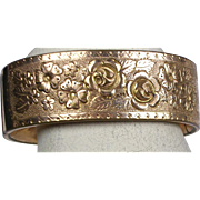 Stunning Wide Victorian Rose Gold Bangle   Rolled Gold   Deep Engraved Roses   Quality