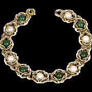 Vintage 14K Gold Jade & Pearl Bracelet  Nesting Stones  Great Design
