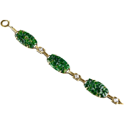 Vintage Art Deco 14K Gold Carved Jade & Diamond Bracelet  Great Design