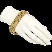 Vintage Retro 18K Matte Gold Heavy Link Bracelet  Solid Weight  Italian Detail  Top Quality