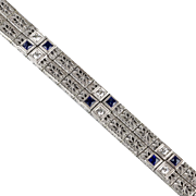 Vintage Art Deco Platinum & 14K White Gold Diamond & Sapphire Bracelet   Filigree  Double Wide  RARE