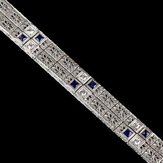 Vintage Art Deco Platinum & 14K White Gold Diamond & Sapphire Bracelet   Filigree  Double Wide  RARE