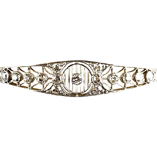 Exquisite Edwardian Platinum Gold Diamond 2.40ctw Bangle Bracelet   Fine Filigree Detail  RARE
