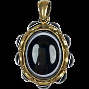 Antique Victorian Gold Filled Banded Agate Locket    Large   Open Back   RARE