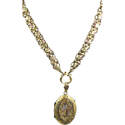 Antique Victorian 3 Color Gold Front Book Chain Necklace Locket Pendant VERY RARE