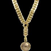 Antique Victorian GF Gold Front Keys Book Chain  Necklace Locket Pendant Lg 52g