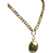 Antique Victorian Book Chain  3 Color Gold Front  Necklace Pendant  Large Locket  RARE