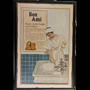 Custom Framed  Vintage Ad Bon Ami Cleaning Powder  1918 ~ In Color