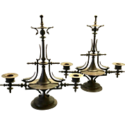 Antique French Bronze Pair Egyptian Revival Candelabra   Clean Lines  Gorgeous  RARE