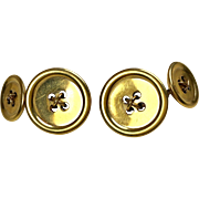 Vintage 14K Gold Double Sided Button Cufflinks by Jost  Classic Elegant  Top Quality