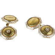 Vintage Art Deco 14K Gold & Platinum Double Sided Cufflinks  Diamond Accents  Octagonal  Elegant