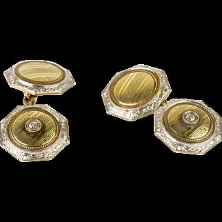 Vintage Art Deco 14K Gold & Platinum Double Sided Cufflinks  Diamond Accents  Octagonal  Elegant