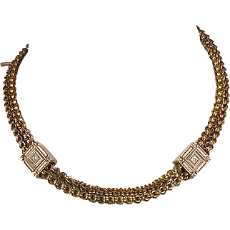 Antique Victorian 14K Rose Gold Double Watch Chain or Necklace   Enamel Accents  Top Quality