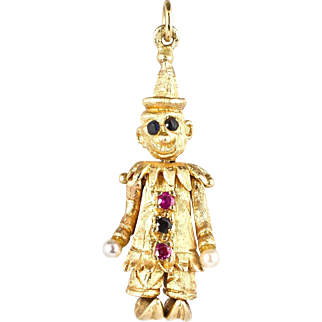 Adorable Vintage Articulated 14K Gold Jeweled Clown Charm  Movable Parts  Special  Top Quality