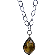 Huge Vintage Sterling Silver Citrine Crystal Marcasite Pendant Necklace   Stunning   One of a Kind