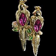 Stunning Vintage Coro Duette Pin Gold Birds Large Pink Stones Enamel Rare