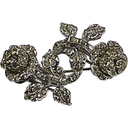 Stunning Coro Craft Duette Pin Signed  Pair White Roses  RARE