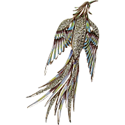 Vintage CoroCraft Rose Gold Vermeil Flying Bird Brooch  Enamel Accents  Sparkly Rhinestones  Very Large  Top Quality RARE