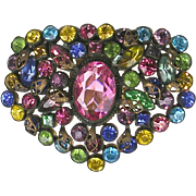Stunning Vintage Czech Glass Dress Clip Pin  Very Colorful  Full of Sparkle  RARE