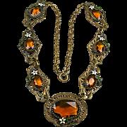 Early Vintage Czech Topaz Glass Necklace  Filigree  Enamel  RARE  A Beauty