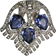 Stunning Art Deco Dress Clip  Blue & White  Sparkles like Real Stones  Top Quality  Rare