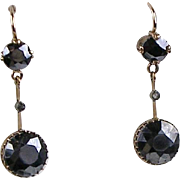 Vintage Art Deco 14K Rose Gold Hematite & Diamond Drop Earrings  Gorgeous Design  RARE