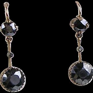 Vintage Art Deco 14K Rose Gold Hematite & Diamond Drop Earrings  Gorgeous Design  RARE