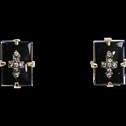 Vintage 18K Rose Gold Onyx Diamond Stud Earrings  Rectangular  Sparkle
