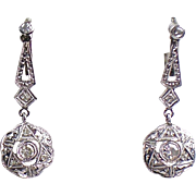 Vintage Art Deco 18K White Gold Diamond Drop Earrings  Gorgeous Design  Top Quality