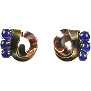 Stunning Retro 14K Rose & Yellow Gold Earrings  Cabochon Sapphires
