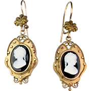 Antique Victorian 18K Gold Sardonyx Hard Stone Cameo Drop Earrings Exquisitely Carved  Beautiful  Quality