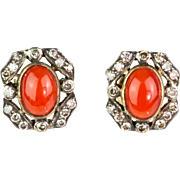 Vintage 18K Gold Diamond & Cabochon Coral Stud Earrings  Lots of Sparkle