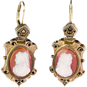 Antique Victorian Hardstone Cameo Drop Earrings  Gold  Enamel  Exquisitely Carved  Beautiful Quality