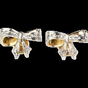Vintage Art Deco 18K Gold Diamond Bow Earrings  Screw Post  Lovely Design