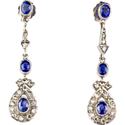 Gorgeous Long Vintage 18K Gold Diamond .62ctw Sapphire Earrings  Top Quality  Sparkle - Red Tag Sale Item
