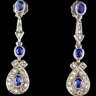 Gorgeous Long Vintage 18K Gold Diamond .62ctw Sapphire Earrings  Top Quality  Sparkle