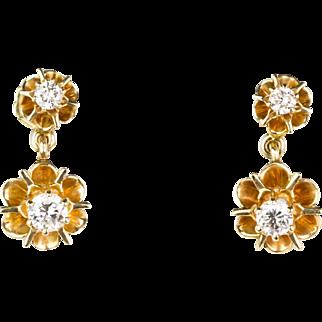 Delicate Victorian 14K Gold Diamond .75ctw  Drop Earrings  Double Belcher Buttercup  Full Cut  Really Lovely