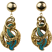 Antique Victorian 14K Gold Enamel Earrings  Engraved Long Love Knots Exquisite RARE