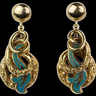 Antique Victorian 14K Gold Enamel Earrings  Engraved Long Love Knots Exquisite RARE